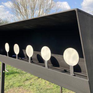 Gong de Tir  ,Rack TAR 22Lr, à relevage par cable, homologué competition, diamètre 115mm